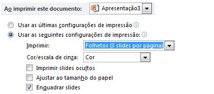 Definir as configurações de impressão padrão para uma apresentação específica