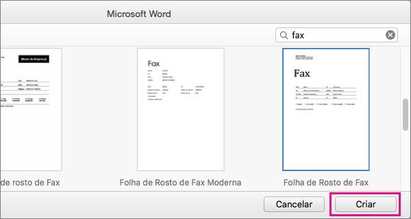 """Para criar uma folha de rosto de fax, pesquise por """"fax"""", selecione um modelo e clique em Criar."""