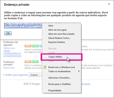 Google Calendar - Copiar link privado