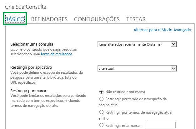 A guia BÁSICO durante a configuração da consulta em uma Web Part de Pesquisa de Conteúdo