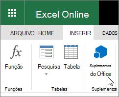 """Captura de tela de um Close do grupo de suplementos na guia Inserir da faixa de opções com o cursor apontando para """"Suplementos do Office""""."""