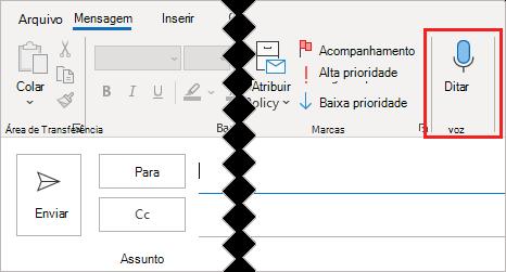 Botão ditado na faixa de opções