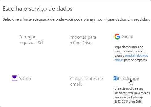 Na página Migração, selecione Exchange como seu serviço de dados