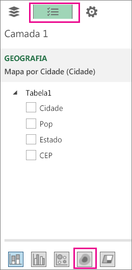 Ícone Mapa de ativação na guia Lista de campos