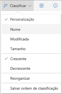 Captura de tela do menu Classificar no OneDrive