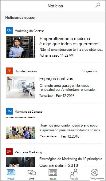 Captura de tela agregada de Notícias da Equipe