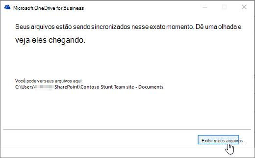 Caixa de diálogo de sincronização do OneDrive for Business mostrar o botão meus arquivos realçado.