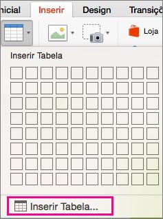 Opção do menu Inserir Tabela