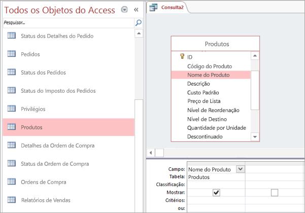 Captura de tela da visão de todos os objetos do Access