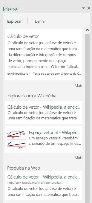 Painel Ideias no Excel 2016 para Windows