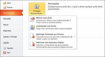 botão proteger apresentação com opções