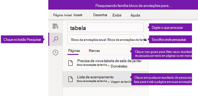 Opções do painel de pesquisa no OneNote para Windows 10