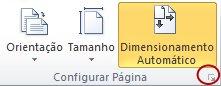 Iniciador da Caixa de Diálogo Configurar Página