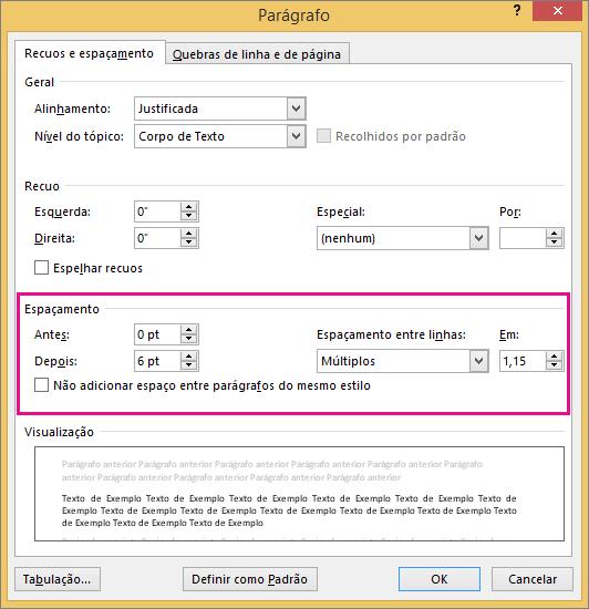 As opções de Espaçamento são realçadas na caixa de diálogo Parágrafo.