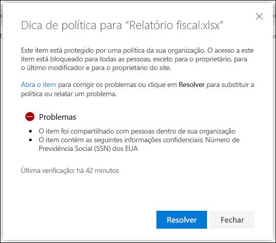 Dica de política para um documento em uma conta do OneDrive