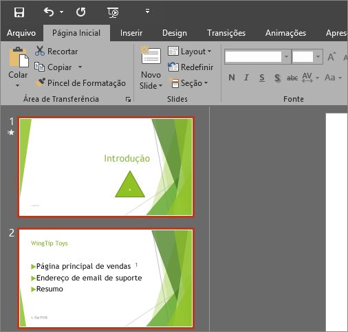 Mostra o PowerPoint 2016 com o Tema Cinza Escuro aplicado.