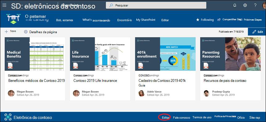 Adicione ou edite links e rótulos em um rodapé de site de comunicação do SharePoint.