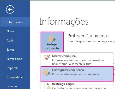 Proteja seu documento com senha