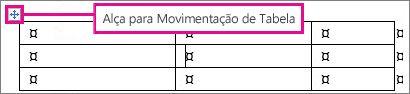 Uma tabela mostrando a alça de movimentação de tabela.