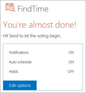 Editar opções no email