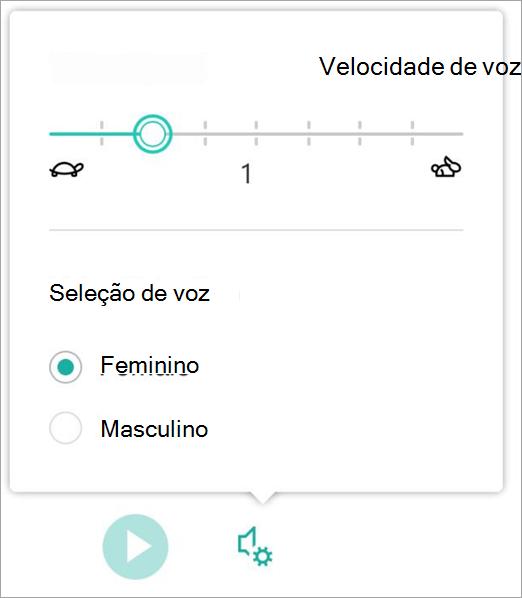 Sexo e velocidade de voz de leitura avançada