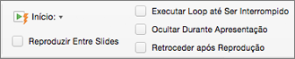 Opções de áudio do lado direito da guia Formato de Áudio