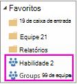 Lista de favoritos com dois grupos realçados