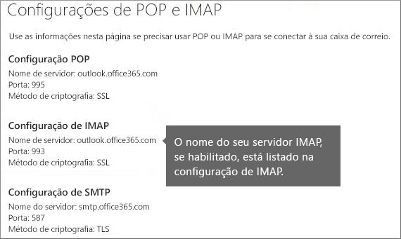 Mostra o link para configurações de acesso POP ou IMAP
