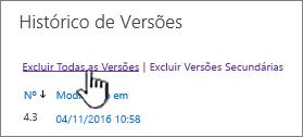 Caixa de diálogo de versão, com a opção Excluir todas as versões realçadas