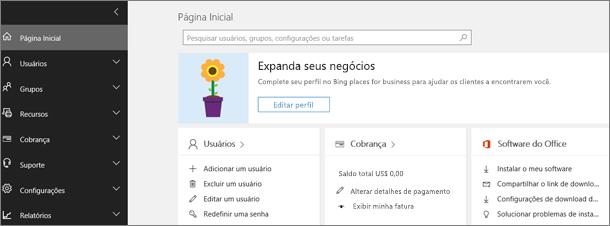 Centro de administração do Office 365