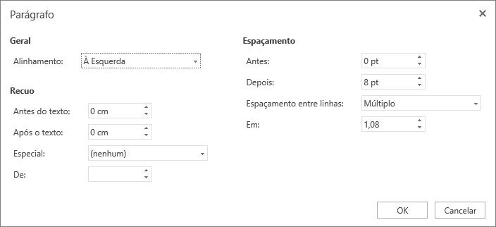 Captura de tela da caixa de diálogo Parágrafo, mostrando as opções Geral, Recuo e Espaçamento.