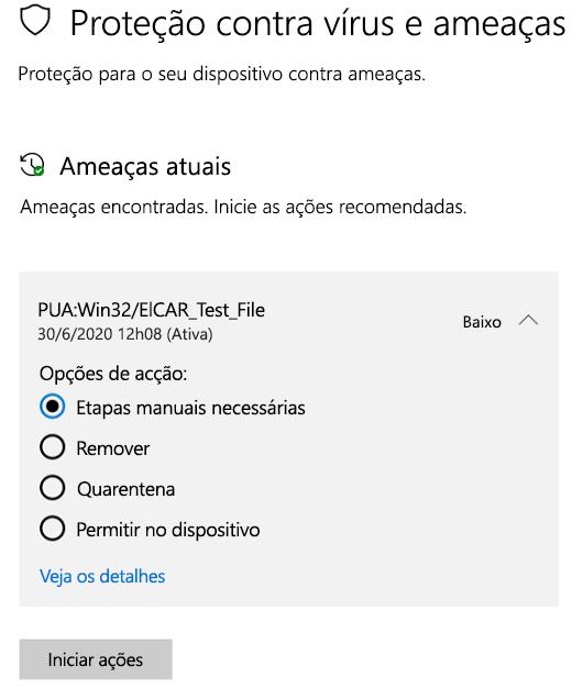 As ações que você pode realizar quando a Segurança do Windows detecta um aplicativo potencialmente indesejado