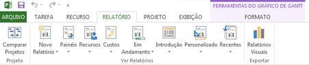guia relatório no project 2013