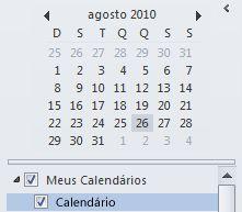 Navegador de datas no painel de navegação do calendário