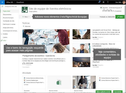 Home page do site de equipe Online do SharePoint
