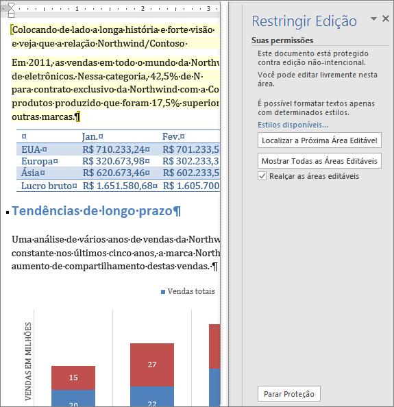 As opções de edição mostradas no painel Restringir Edição.