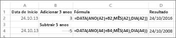 Exemplos de adição e subtração de datas