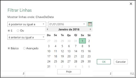 Suporte do Seletor de Data do Power BI do Excel para valores de data de entrada nas caixas de diálogo Filtrar Linhas e Colunas Condicionais