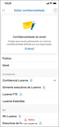 Tela de Editar Confidencialidade com rótulos para escolher, como público e geral