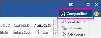 O ícone Compartilhar está realçado no lado direito da faixa de opções