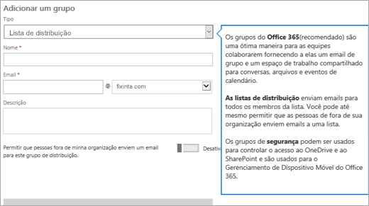 Adicionar uma página de grupo – selecione a lista suspensa e escolha Lista de distribuição
