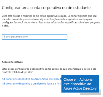 Clique Ingressar com este dispositivo no Azure Active Directory