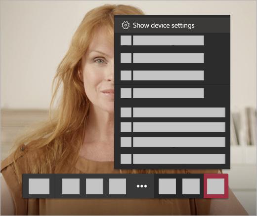 Configurações de áudio para uma chamada de vídeo
