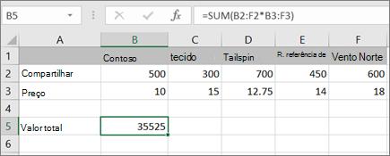 Um exemplo de uma fórmula de matriz que calcula um único resultado