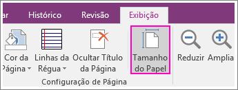 Captura de tela do botão Tamanho de papel no OneNote 2016.