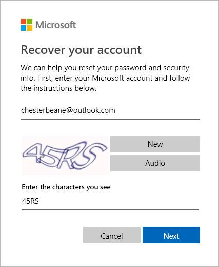 Etapa 1 de recuperação de conta da Microsoft