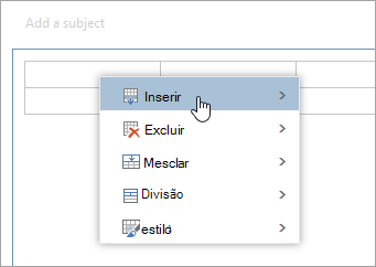 Uma captura de tela do menu de contexto de tabela