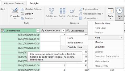 Power Query – Extrair o início/fim da hora de uma coluna Hora ou Data/Hora no Editor de Consultas