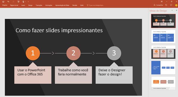 O Designer do PowerPoint transforma texto orientado a processo em um elemento gráfico.
