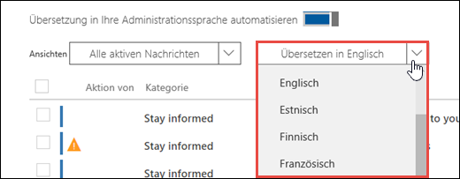Uma captura de tela do centro de mensagens mostrando o menu suspenso de tradução